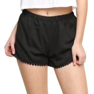 Brandy Melville Black Crochet Trim Leticia Shorts